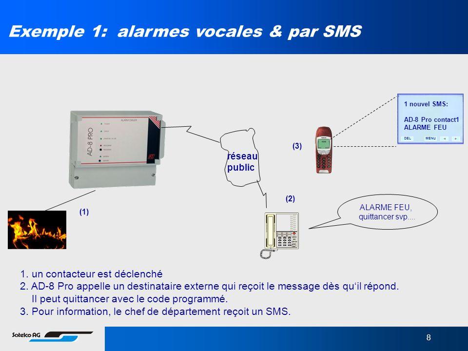 8 Exemple 1: alarmes vocales & par SMS réseau public ALARME FEU, quittancer svp.... (1) (2) (3) MENUDEL 1 nouvel SMS: AD-8 Pro contact1 ALARME FEU 1.