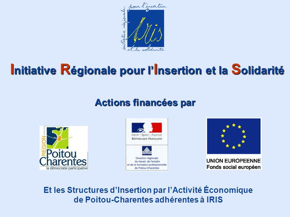 Initiative Régionale pour lInsertion et la Solidarité Actions financées par Et les Structures dInsertion par lActivité Économique de Poitou-Charentes