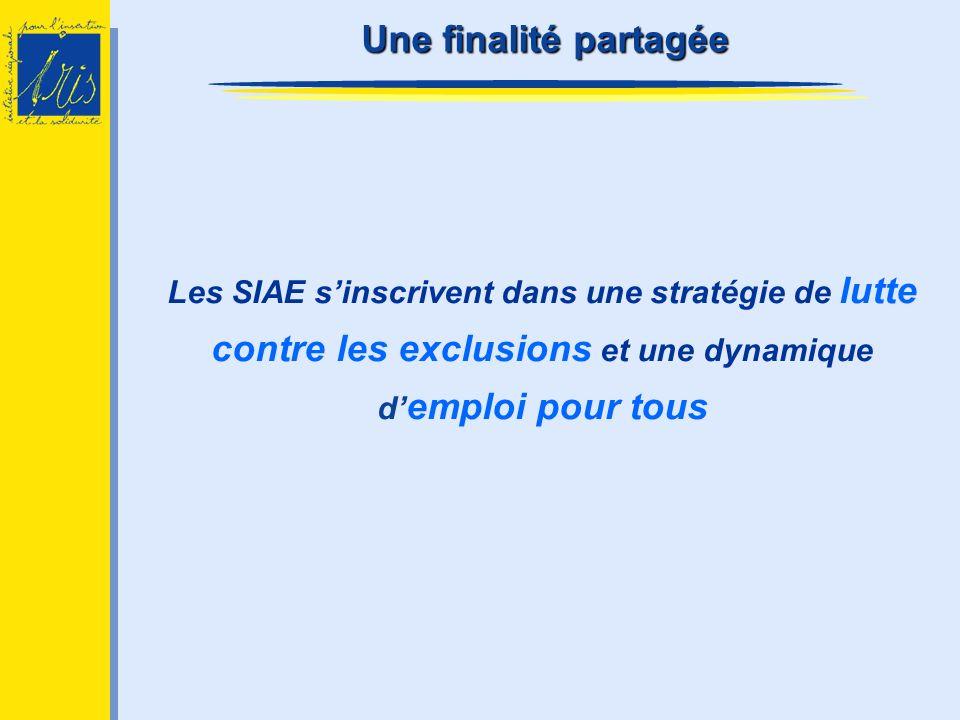 Les SIAE sinscrivent dans une stratégie de lutte contre les exclusions et une dynamique d emploi pour tous Une finalité partagée