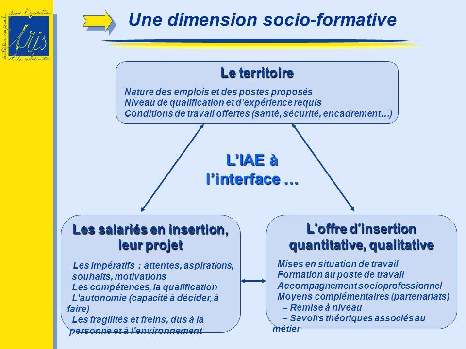 LIAE à linterface … L offre d insertion quantitative, qualitative Mises en situation de travail Formation au poste de travail Accompagnement socioprof