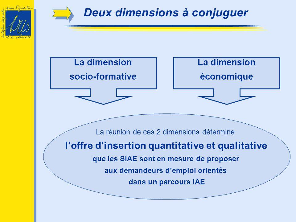 La dimension socio-formative La dimension économique Deux dimensions à conjuguer La réunion de ces 2 dimensions détermine loffre dinsertion quantitati