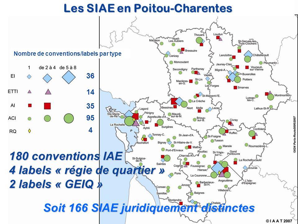 14 35 95 4 36 Soit 166 SIAE juridiquement distinctes 180 conventions IAE 4 labels « régie de quartier » 2 labels « GEIQ » Les SIAE en Poitou-Charentes