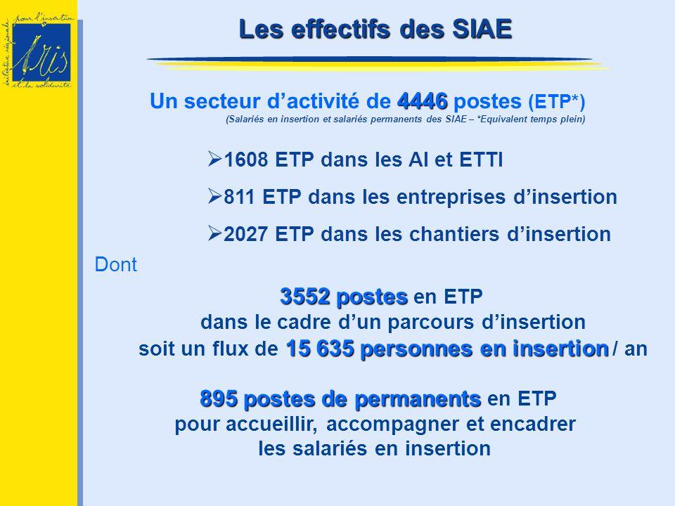 Dont 3552 postes 15 635 personnes en insertion 3552 postes en ETP dans le cadre dun parcours dinsertion soit un flux de 15 635 personnes en insertion