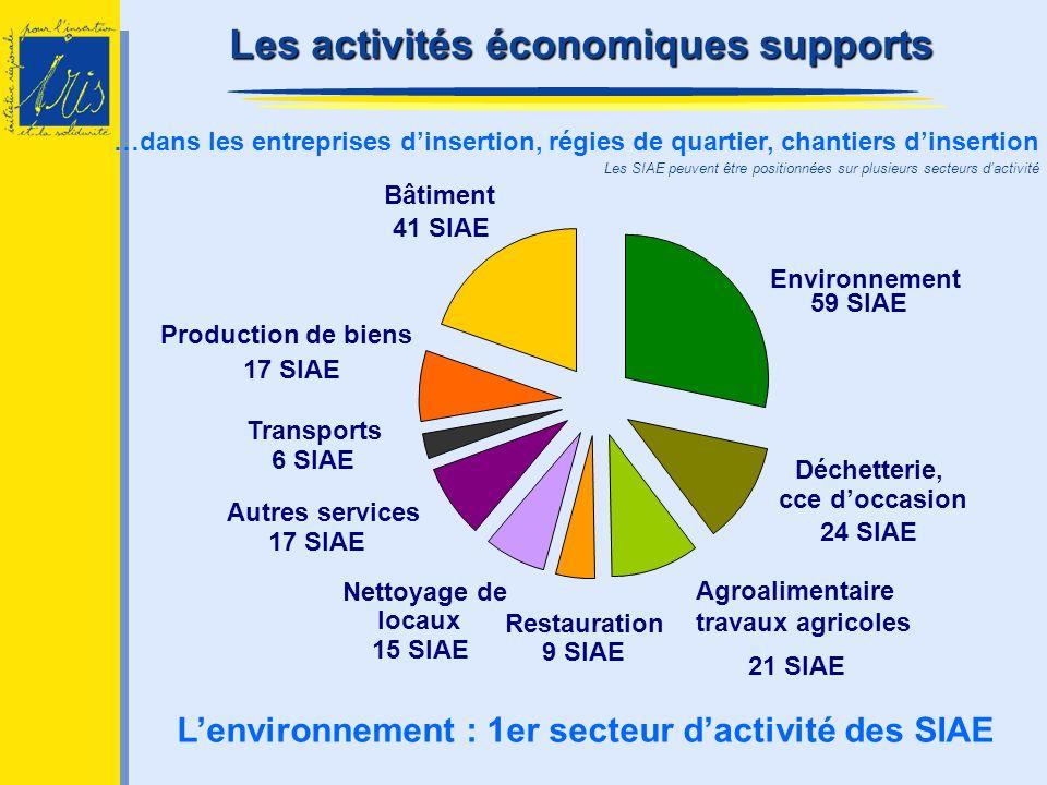 …dans les entreprises dinsertion, régies de quartier, chantiers dinsertion Lenvironnement : 1er secteur dactivité des SIAE Les activités économiques s
