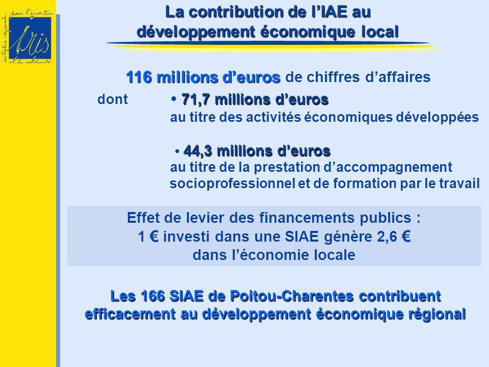 Les 166 SIAE de Poitou-Charentes contribuent efficacement au développement économique régional 116 millions deuros 116 millions deuros de chiffres daf