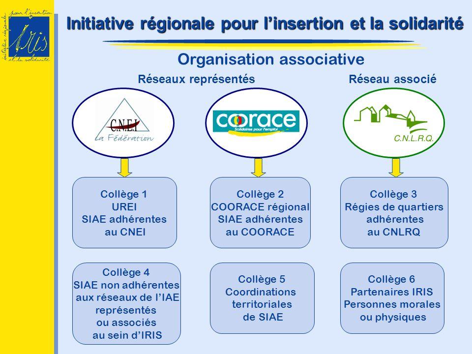 Organisation associative Réseaux représentésRéseau associé Collège 1 UREI SIAE adhérentes au CNEI Collège 2 COORACE régional SIAE adhérentes au COORAC