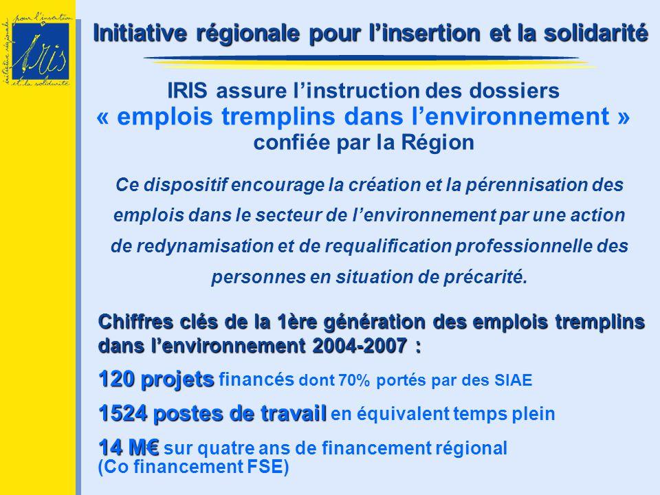 IRIS assure linstruction des dossiers « emplois tremplins dans lenvironnement » confiée par la Région Ce dispositif encourage la création et la pérenn