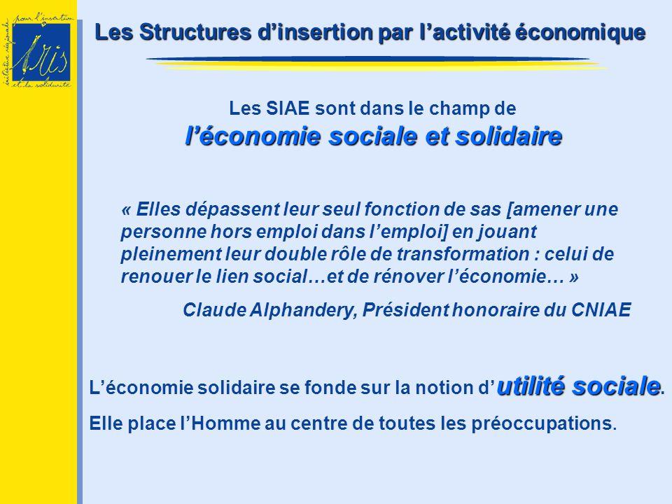 léconomie sociale et solidaire Les SIAE sont dans le champ de léconomie sociale et solidaire « Elles dépassent leur seul fonction de sas [amener une p