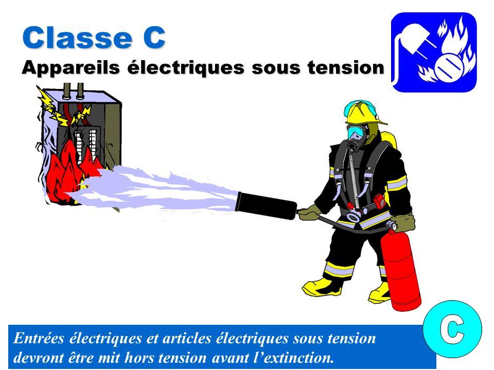 Classe C Appareils électriques sous tension Entrées électriques et articles électriques sous tension devront être mit hors tension avant lextinction.