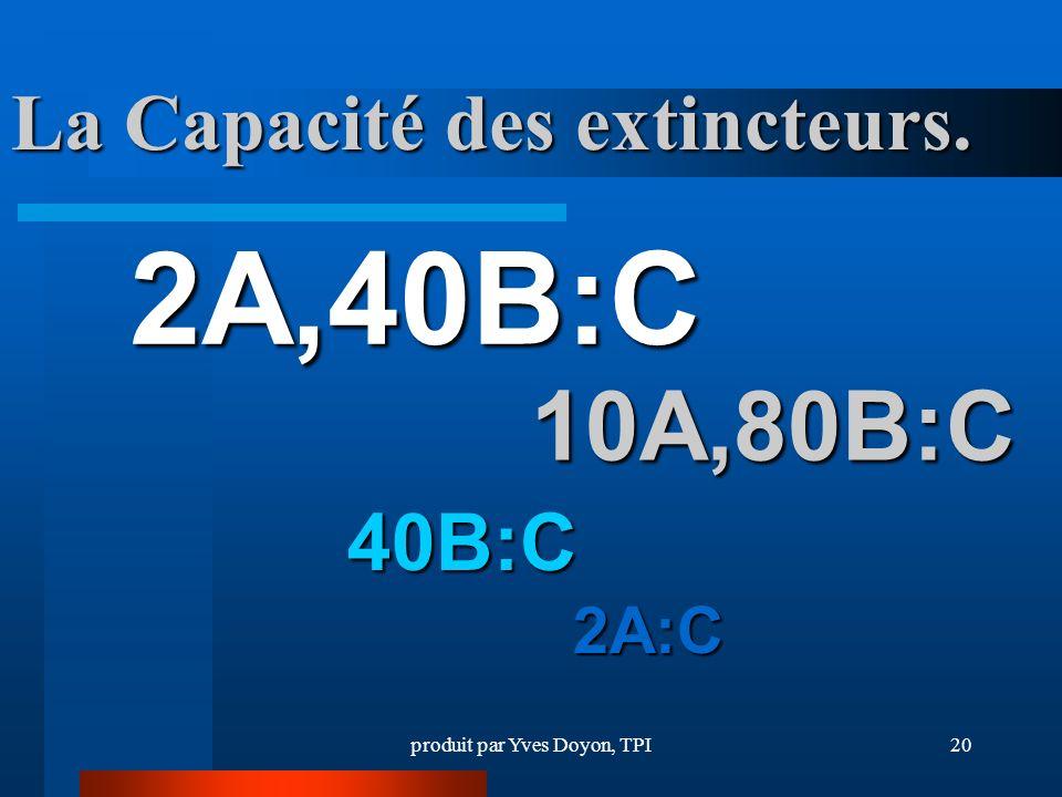 produit par Yves Doyon, TPI20 10A,80B:C La Capacité des extincteurs. 2A,40B:C 40B:C 2A:C
