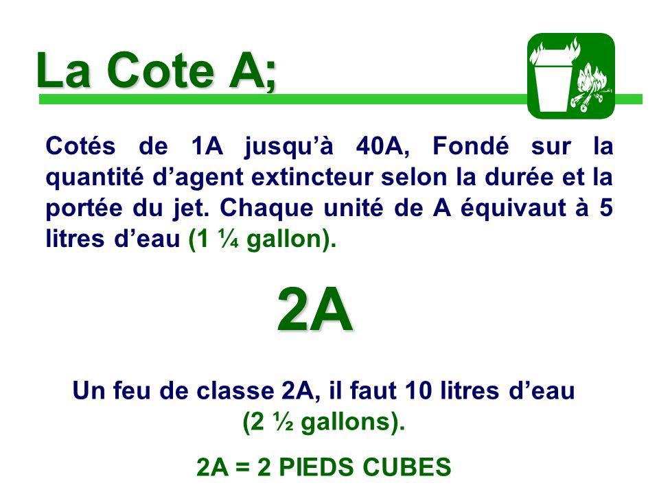La Cote A; Cotés de 1A jusquà 40A, Fondé sur la quantité dagent extincteur selon la durée et la portée du jet.