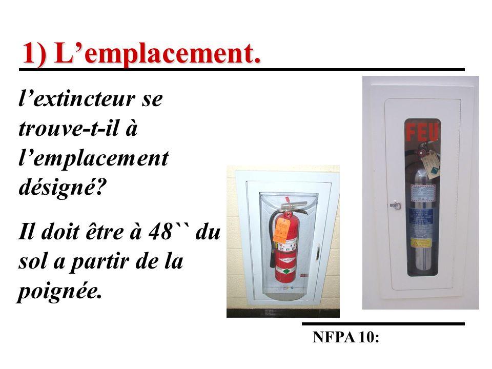 1) Lemplacement.NFPA 10: lextincteur se trouve-t-il à lemplacement désigné.