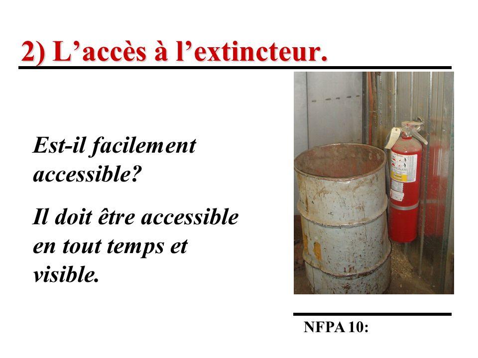 2) Laccès à lextincteur.NFPA 10: Est-il facilement accessible.