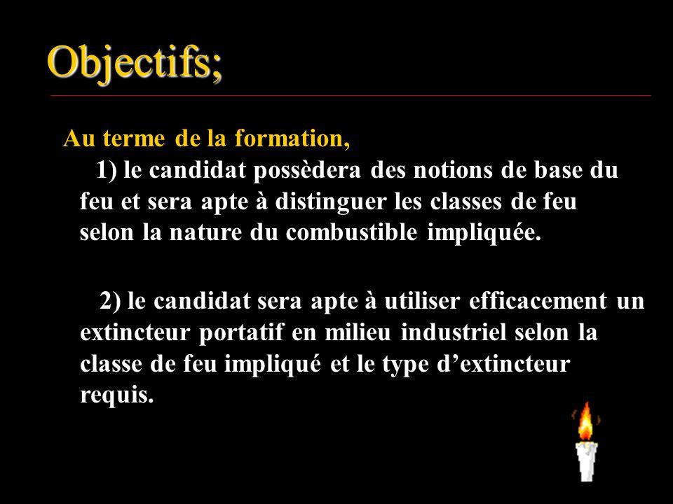 Objectifs; Au terme de la formation, 1) le candidat possèdera des notions de base du feu et sera apte à distinguer les classes de feu selon la nature du combustible impliquée.