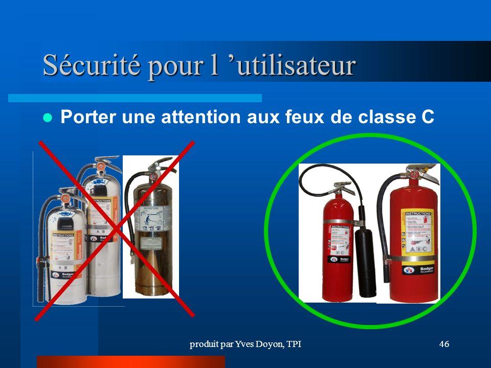 produit par Yves Doyon, TPI46 Sécurité pour l utilisateur Porter une attention aux feux de classe C