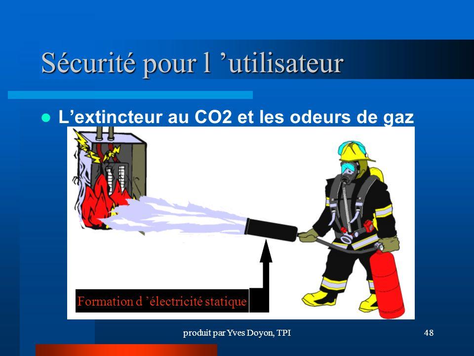 produit par Yves Doyon, TPI48 Sécurité pour l utilisateur Lextincteur au CO2 et les odeurs de gaz Formation d électricité statique