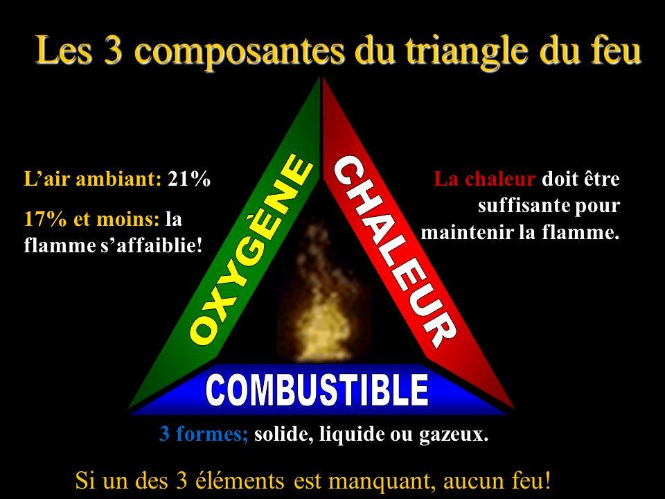 Les 3 composantes du triangle du feu Si un des 3 éléments est manquant, aucun feu.