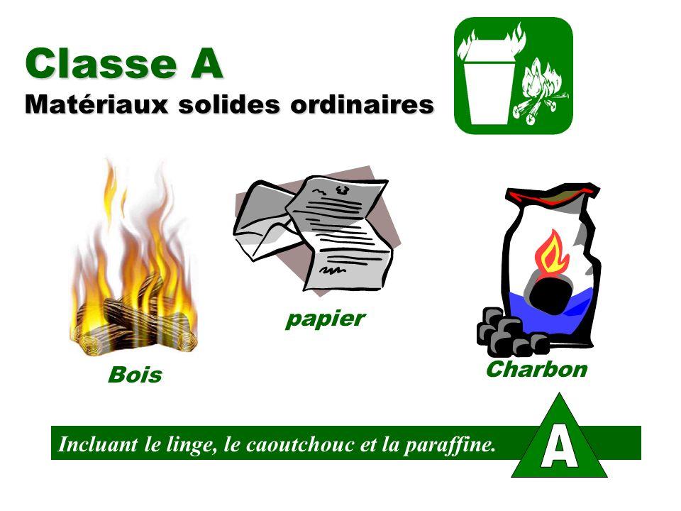 Classe A Matériaux solides ordinaires Bois papier Charbon Incluant le linge, le caoutchouc et la paraffine.