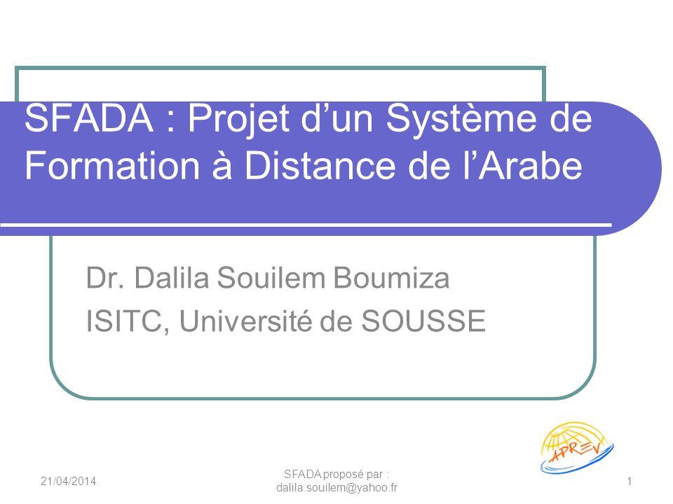 SFADA : Projet dun Système de Formation à Distance de lArabe Dr. Dalila Souilem Boumiza ISITC, Université de SOUSSE 21/04/20141 SFADA proposé par : da