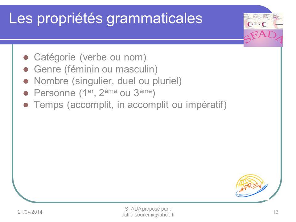 Les propriétés grammaticales Catégorie (verbe ou nom) Genre (féminin ou masculin) Nombre (singulier, duel ou pluriel) Personne (1 er, 2 ème ou 3 ème )