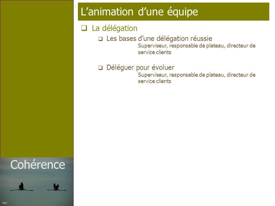 Page 10 T élé p rofil Lanimation dune équipe La délégation Les bases dune délégation réussie Superviseur, responsable de plateau, directeur de service