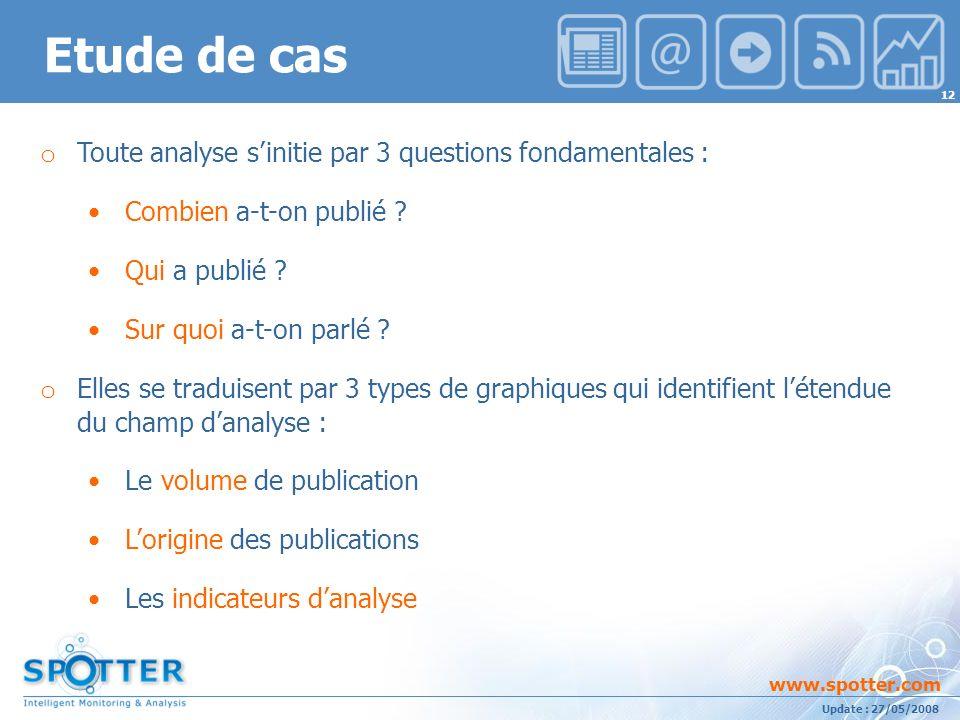 Projet suivi par Ana ATHAYDE www.spotter.com 12 Update : 27/05/2008 Etude de cas o Toute analyse sinitie par 3 questions fondamentales : Combien a-t-on publié .