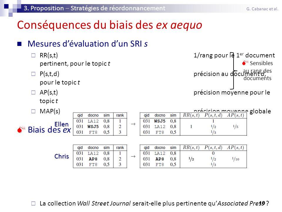 10 Conséquences du biais des ex aequo Mesures dévaluation dun SRI s RR(s,t)1/rang pour le 1 er document pertinent, pour le topic t P(s,t,d)précision a