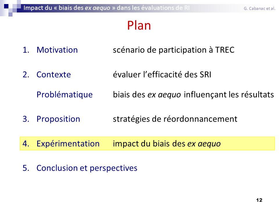 12 Plan 1.Motivationscénario de participation à TREC 2.Contexteévaluer lefficacité des SRI Problématiquebiais des ex aequo influençant les résultats 3
