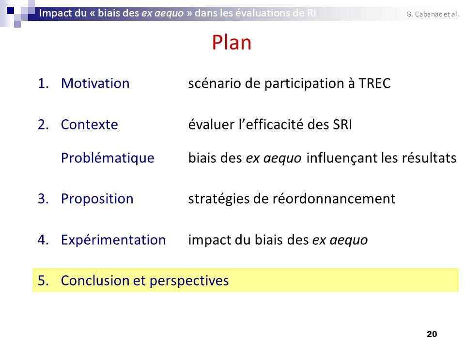 20 Plan 1.Motivationscénario de participation à TREC 2.Contexteévaluer lefficacité des SRI Problématiquebiais des ex aequo influençant les résultats 3