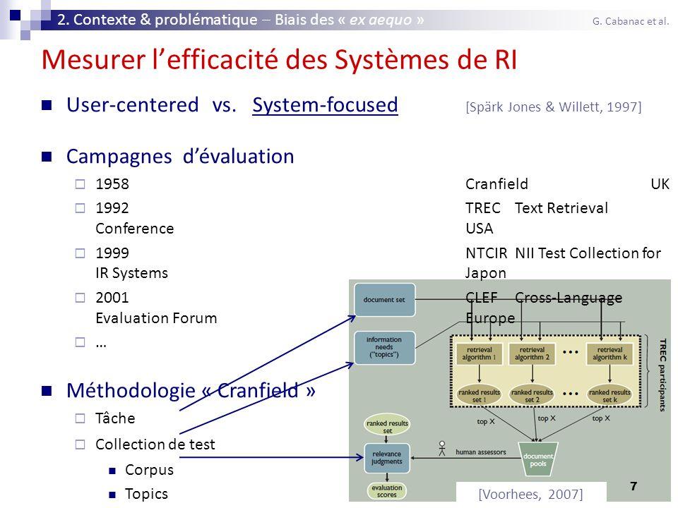 7 Mesurer lefficacité des Systèmes de RI User-centered vs. System-focused [Spärk Jones & Willett, 1997] Campagnes dévaluation 1958CranfieldUK 1992TREC