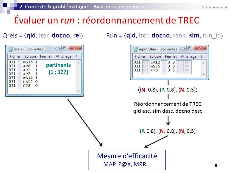 8 Évaluer un run : réordonnancement de TREC Qrels = qid, iter, docno, rel Run = qid, iter, docno, rank, sim, run_id Réordonnancement de TREC qid asc,