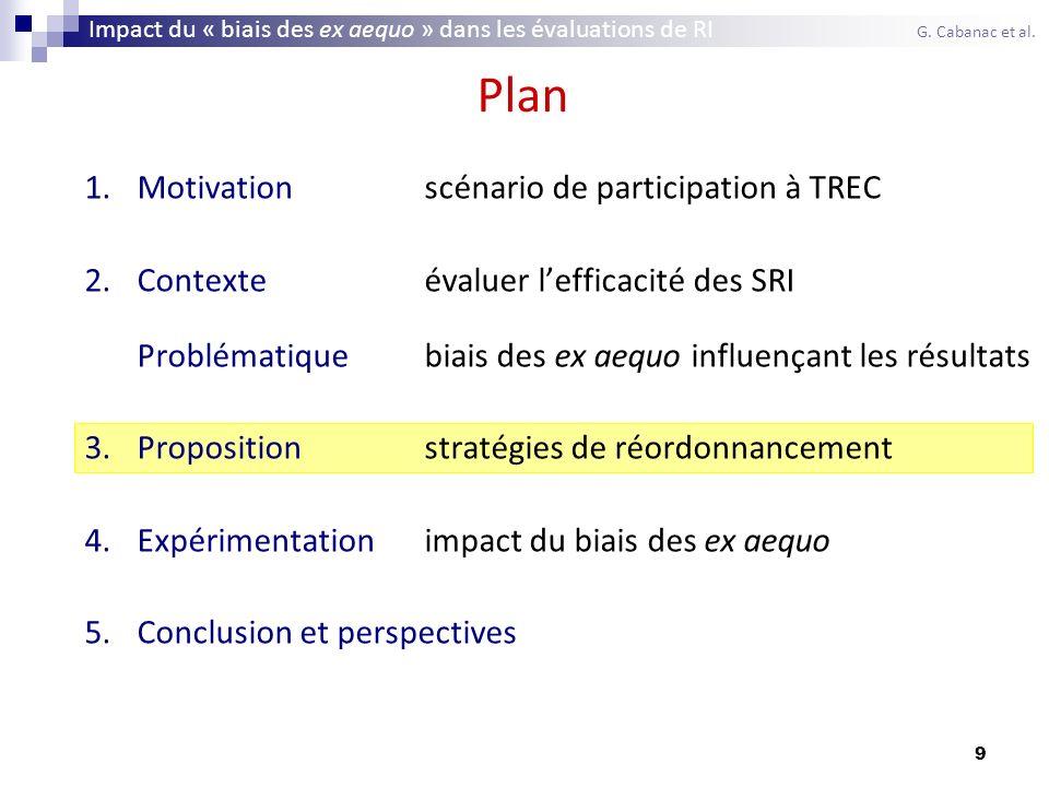 20 Plan 1.Motivationscénario de participation à TREC 2.Contexteévaluer lefficacité des SRI Problématiquebiais des ex aequo influençant les résultats 3.Propositionstratégies de réordonnancement 4.Expérimentationimpact du biais des ex aequo 5.Conclusion et perspectives Impact du « biais des ex aequo » dans les évaluations de RI G.
