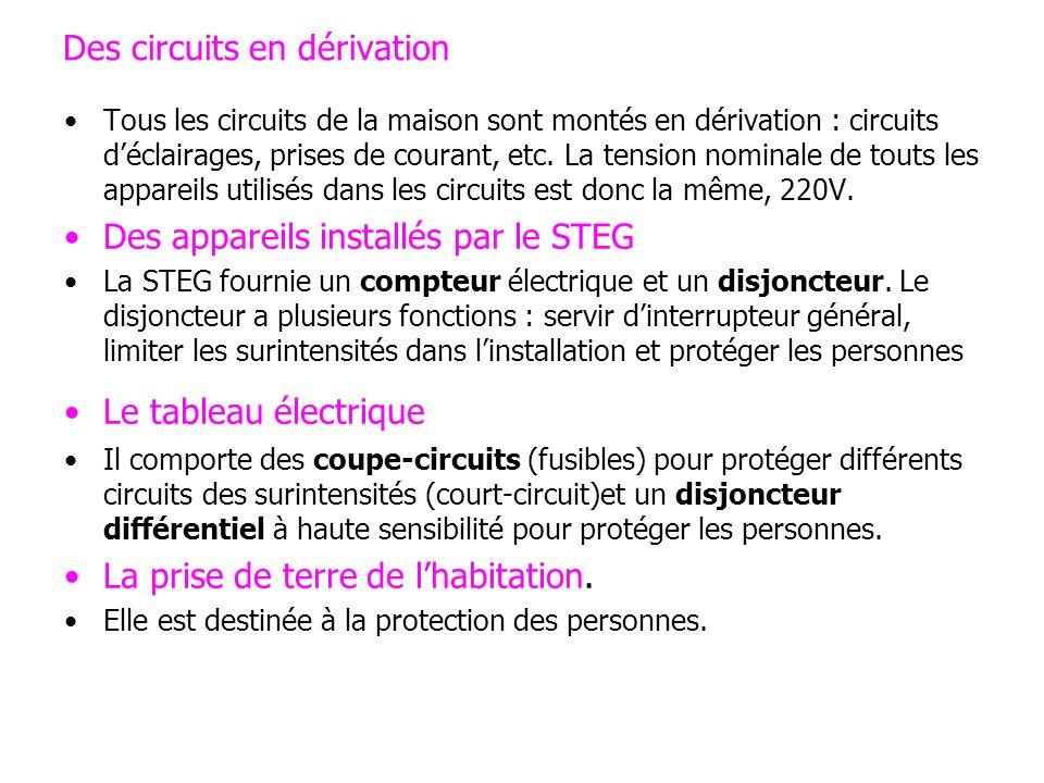 Des circuits en dérivation Tous les circuits de la maison sont montés en dérivation : circuits déclairages, prises de courant, etc. La tension nominal