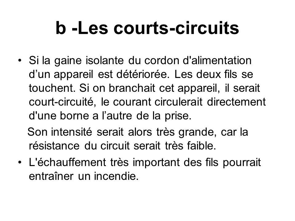 b -Les courts-circuits Si la gaine isolante du cordon d'alimentation dun appareil est détériorée. Les deux fils se touchent. Si on branchait cet appar
