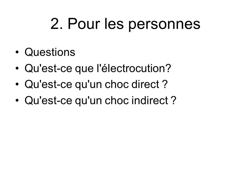 2. Pour les personnes Questions Qu'est-ce que l'électrocution? Qu'est-ce qu'un choc direct ? Qu'est-ce qu'un choc indirect ?