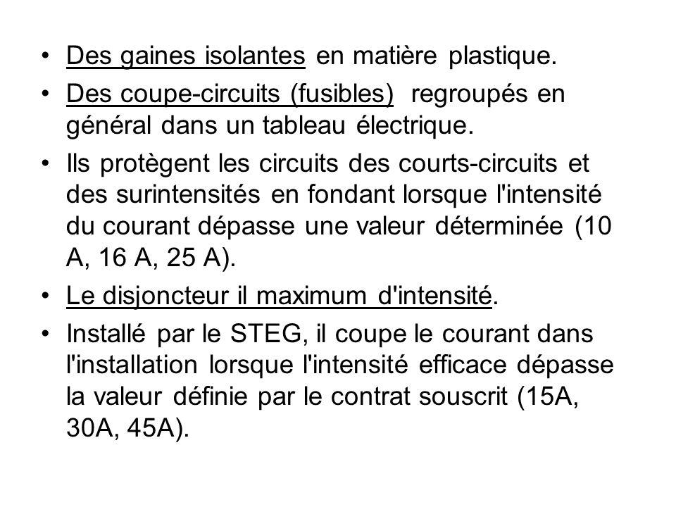 Des gaines isolantes en matière plastique. Des coupe-circuits (fusibles) regroupés en général dans un tableau électrique. Ils protègent les circuits d