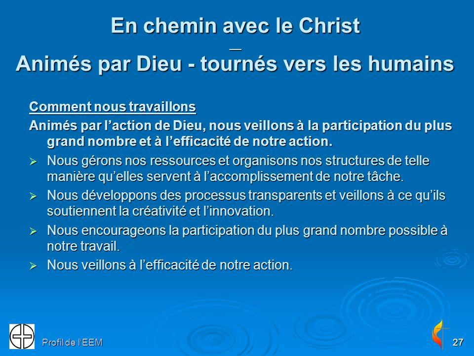 Profil de lEEM27 En chemin avec le Christ __ Animés par Dieu - tournés vers les humains Comment nous travaillons Animés par laction de Dieu, nous veillons à la participation du plus grand nombre et à lefficacité de notre action.