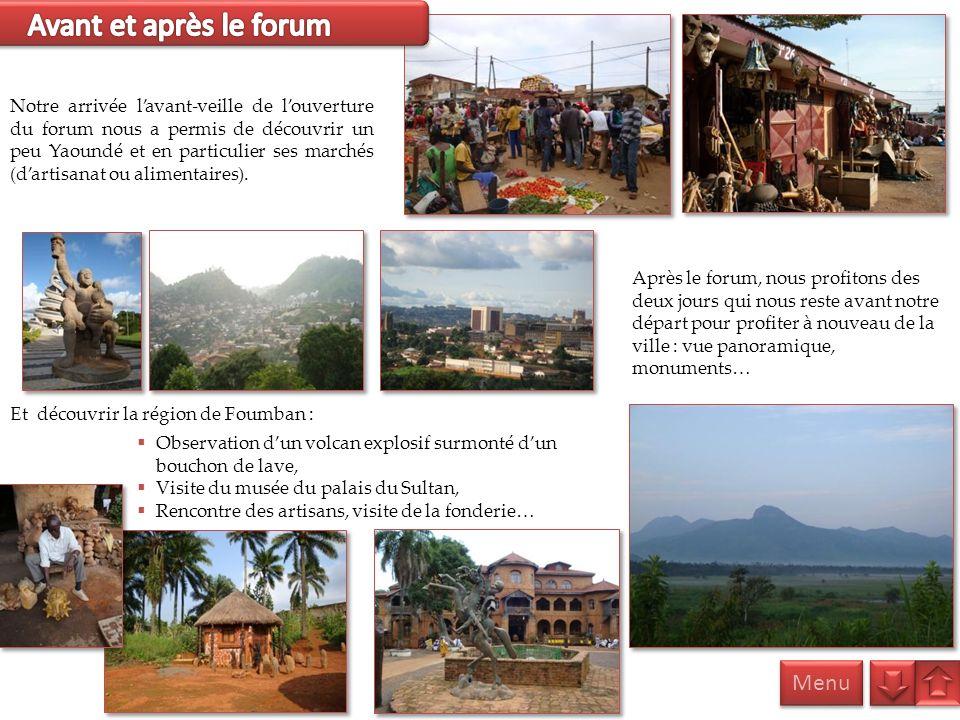 Après le forum, nous profitons des deux jours qui nous reste avant notre départ pour profiter à nouveau de la ville : vue panoramique, monuments… Menu