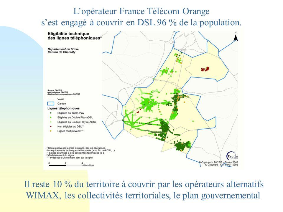 Lopérateur France Télécom Orange sest engagé à couvrir en DSL 96 % de la population.
