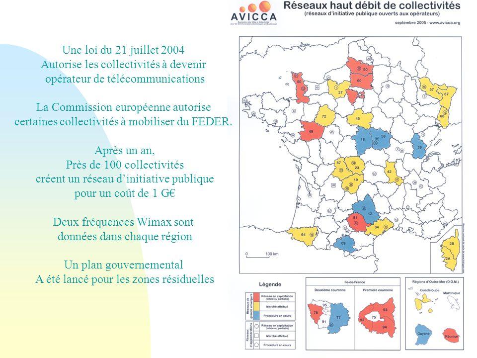 Une loi du 21 juillet 2004 Autorise les collectivités à devenir opérateur de télécommunications La Commission européenne autorise certaines collectivités à mobiliser du FEDER.