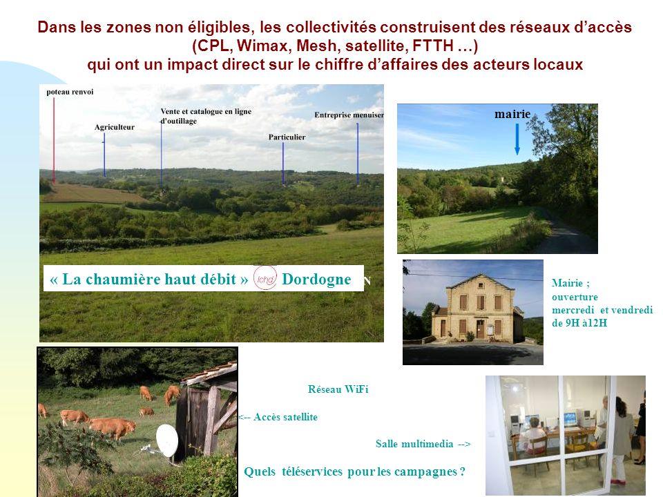 mairie Réseau WiFi <-- Accès satellite Salle multimedia --> Quels téléservices pour les campagnes .