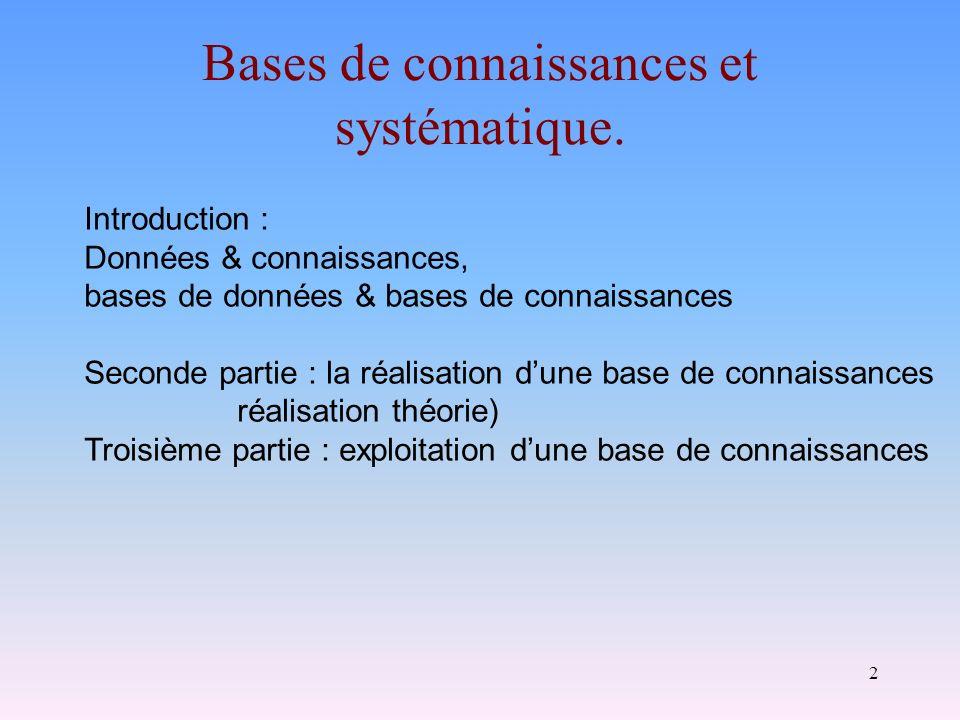 2 Bases de connaissances et systématique. Introduction : Données & connaissances, bases de données & bases de connaissances Seconde partie : la réalis