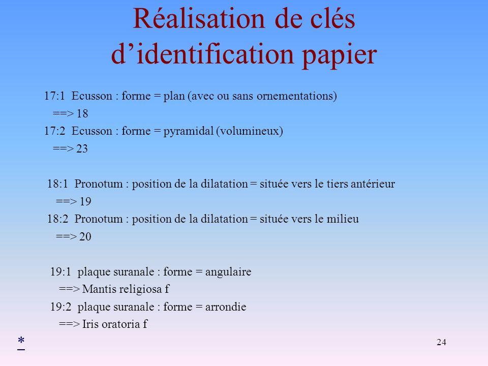 24 Réalisation de clés didentification papier 17:1 Ecusson : forme = plan (avec ou sans ornementations) ==> 18 17:2 Ecusson : forme = pyramidal (volum