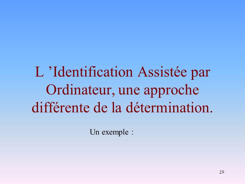 29 L Identification Assistée par Ordinateur, une approche différente de la détermination. Un exemple :
