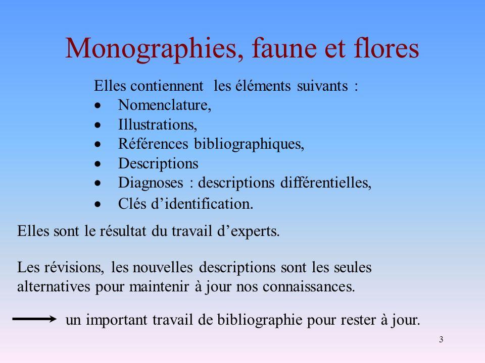 3 Elles contiennent les éléments suivants : Nomenclature, Illustrations, Références bibliographiques, Descriptions Diagnoses : descriptions différenti
