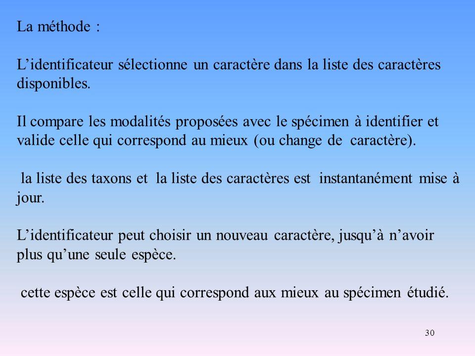 30 La méthode : Lidentificateur sélectionne un caractère dans la liste des caractères disponibles. Il compare les modalités proposées avec le spécimen