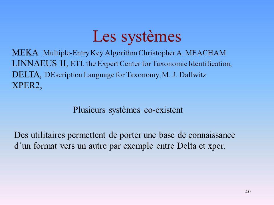 40 Les systèmes Plusieurs systèmes co-existent Des utilitaires permettent de porter une base de connaissance dun format vers un autre par exemple entr