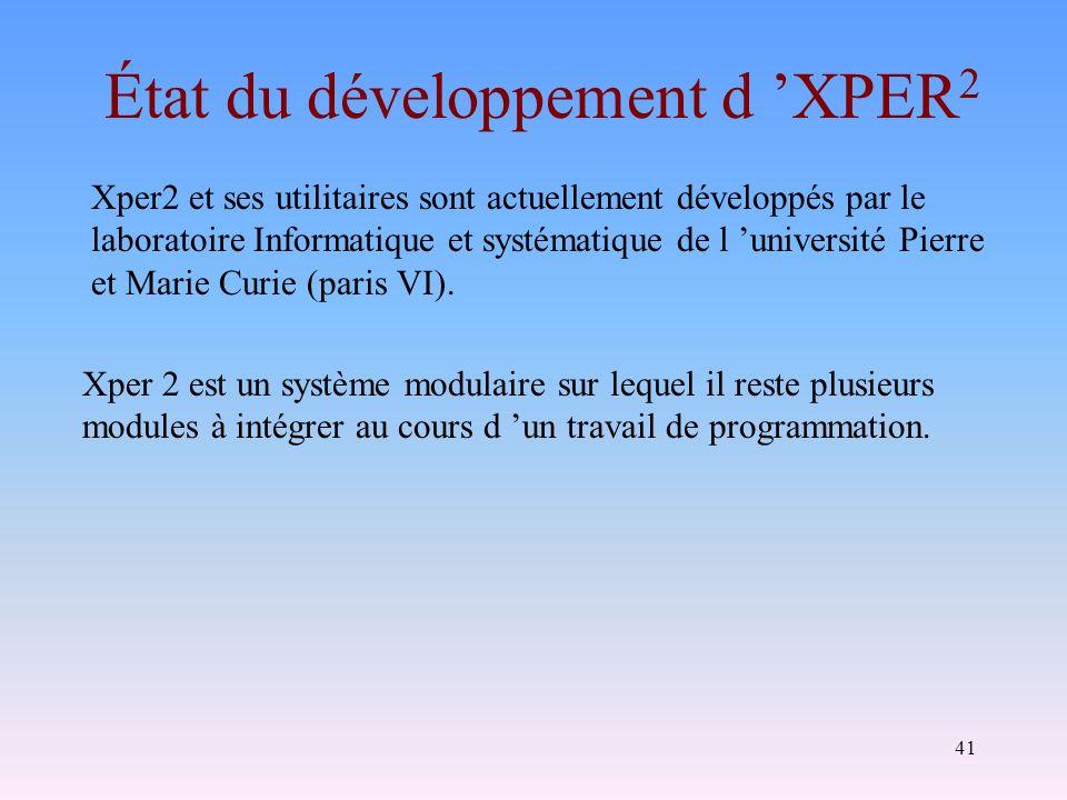 41 État du développement d XPER 2 Xper 2 est un système modulaire sur lequel il reste plusieurs modules à intégrer au cours d un travail de programmat