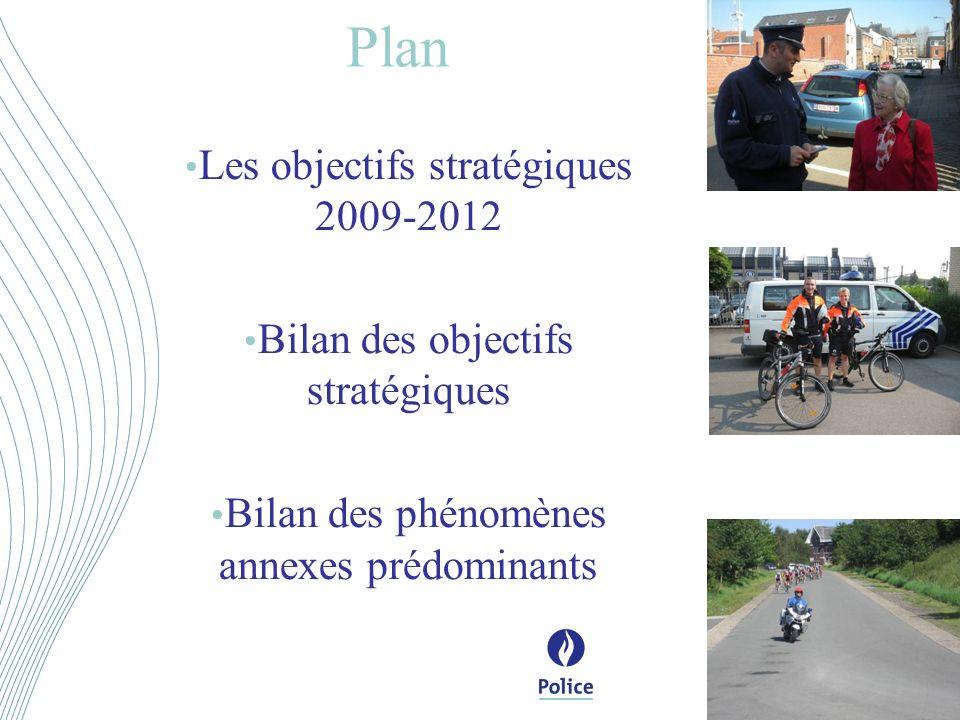 Les objectifs stratégiques 2009-2012 Bilan des objectifs stratégiques Bilan des phénomènes annexes prédominants Plan