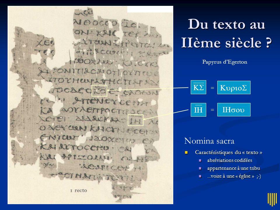 Du texto au IIème siècle ? = = Papyrus dEgerton Nomina sacra Caractéristiques du « texto » Caractéristiques du « texto » abréviations codifées abrévia